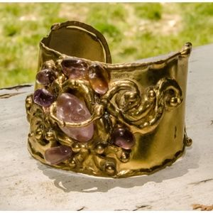 Vintage Modernist Amethyst Brass Cuff Bracelet